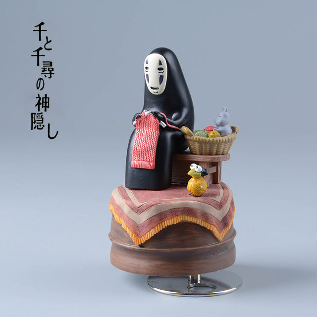 Spirited Away Music Box No Face Resin Figurines-2