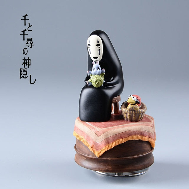 Spirited Away Music Box No Face Resin Figurines-3