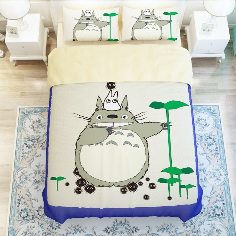 Grey Totoro 3 Pieces Bedding Sets Bed-2