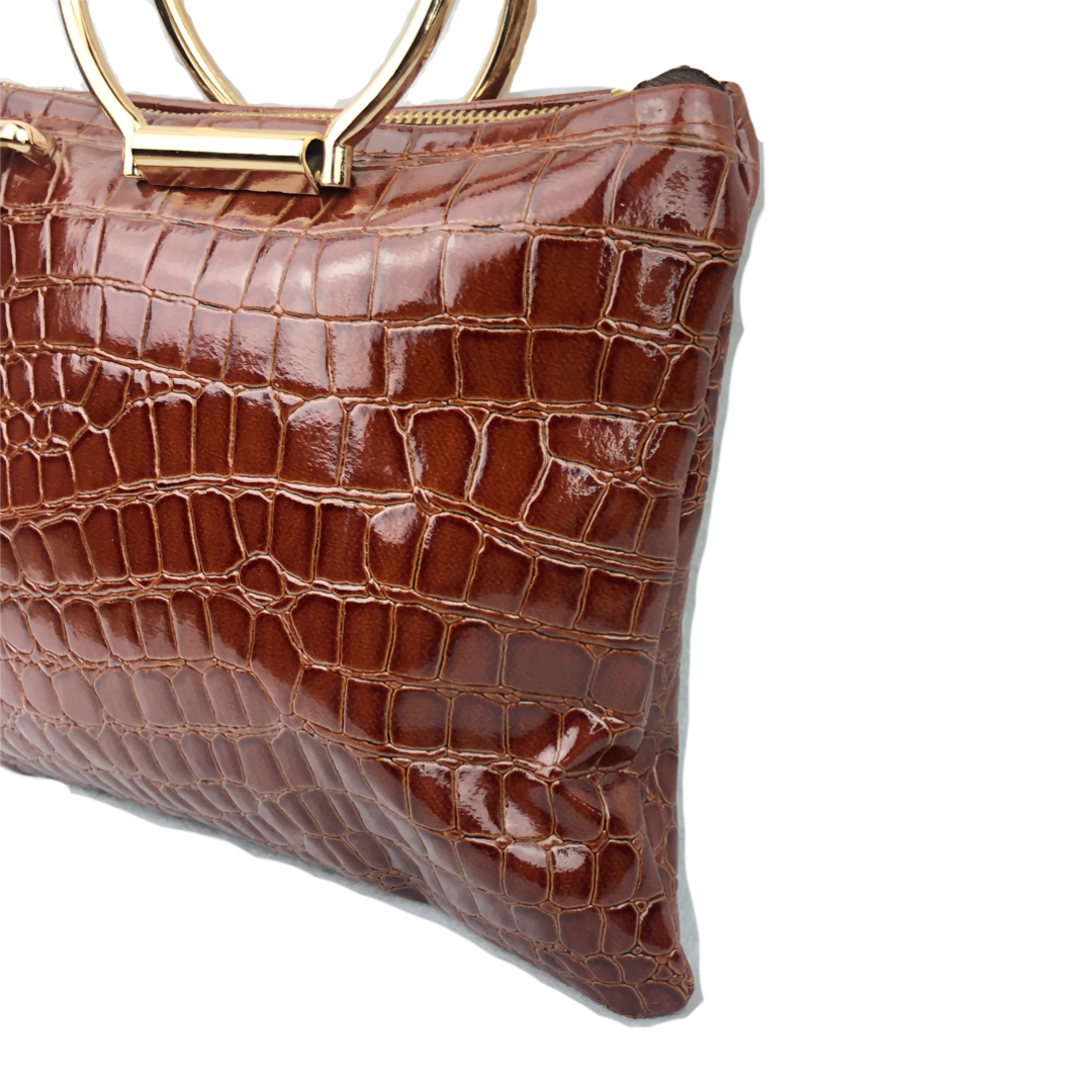Cognac Brown Croc Embossed Micro Mini tote top handle bag