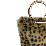 Zoe Mini Tote bag in spotted leopard faux fur