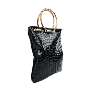 Zoe Mini Tote bag in black croc embossed genuine leather