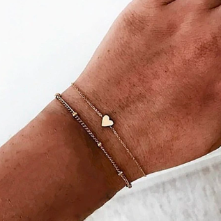 Dainty Heart Bracelet Set