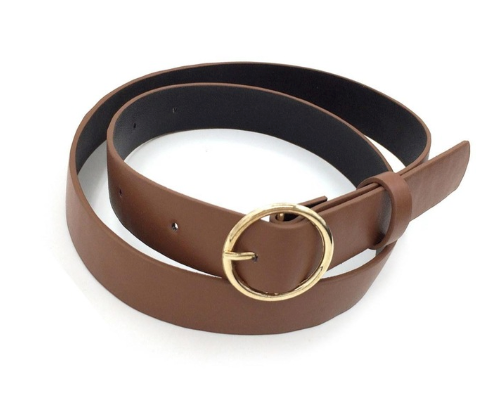 Rounded Buckle Brown Belt