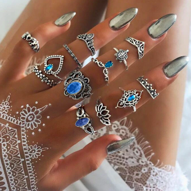 Bohemian Blue Ring Set