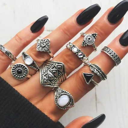 Black Geometric Ring Set