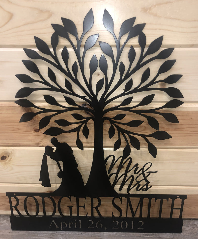 Custom wedding sign - add name and date - cut'n creations metalworks