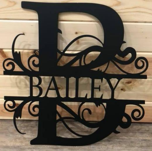 Custom Split Monogram Metal Art - Cut'N Creations