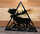 Moose - Triangle Metal Decor Sign