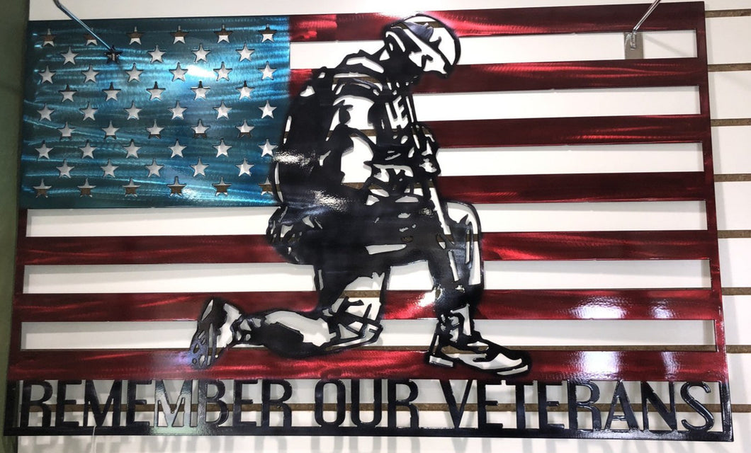 "Hand painted ""Remember Our Veterans"" Flag - cut'n-creations"