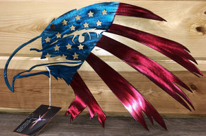 American Eagle Flag Hand Painted Metal Art