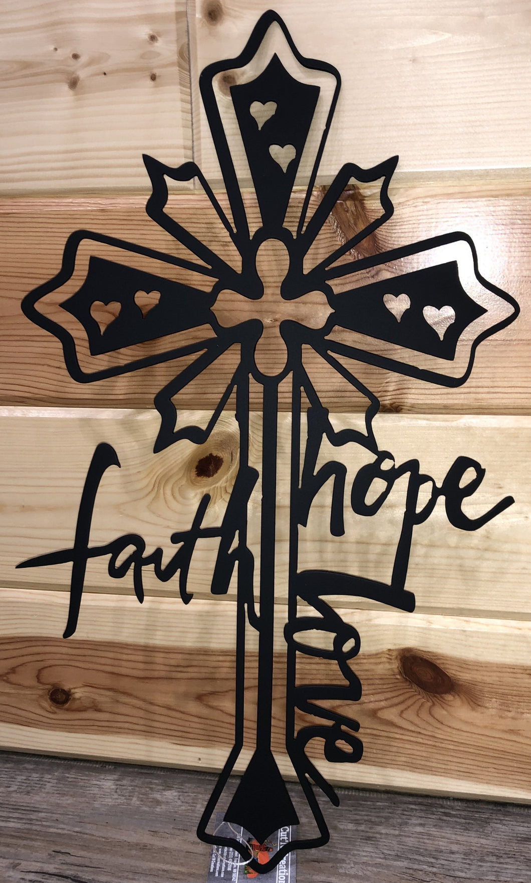 Faith Hope Love Cross Metal Art - Cut'N Creations