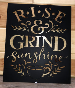 Rise and Grind Sunshine Wall Hanging Metal Art - Cut'N Creations