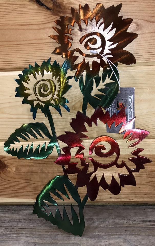 Flower Painted Metal Art - Cut'N Creations