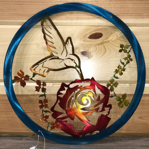 Hummingbird Rose in Circle Wall Hanging Metal Art - Cut'N Creations