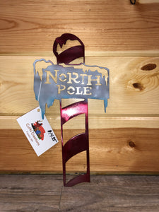 North Pole Metal Art Hand Painted - Cut'N Creations