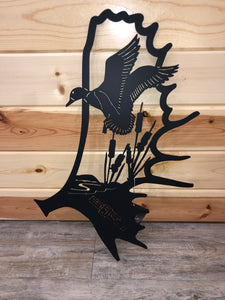 Moose Antler with Duck Scene Inside Metal Art - Cut'N Creations
