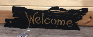 Welcome Old Wood Look Welcome Metal Art - Cut'N Creations