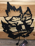 Maple Leaf Deer Scene Metal Art - Cut'N Creations