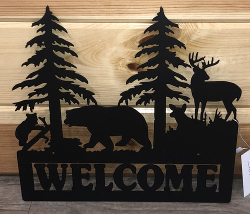 Black Bear/Deer Welcome Metal Sign