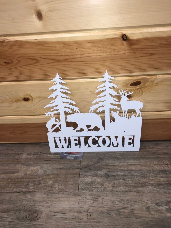 White Bear/Deer Metal Welcome Sign