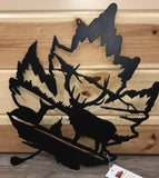 Maple Leaf Elk Scene Metal Art - Cut'N Creations