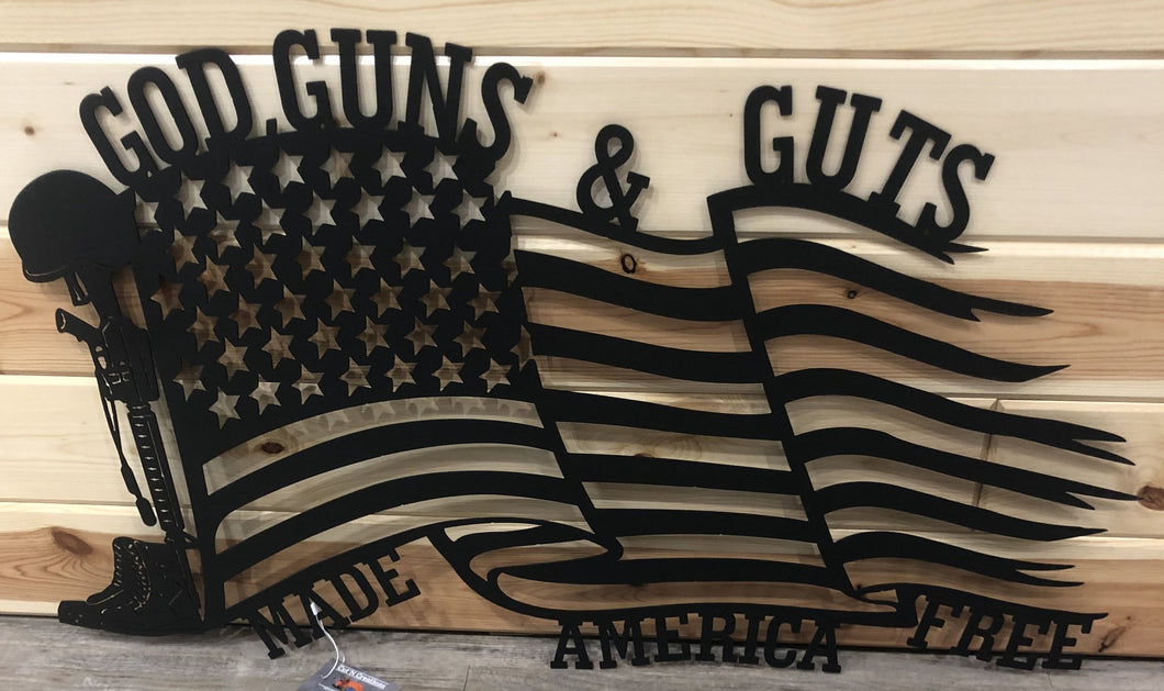 God Guns Glory made America Free Metal Art - Cut'N Creations