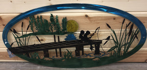 Kids Fishing Dock Scene Oval Metal Art - Cut'N Creations