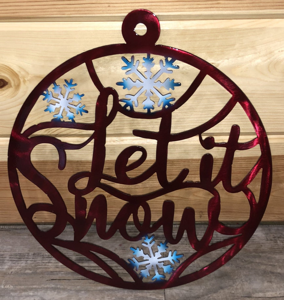 Red Let it Snow Metal Art- Cut'N Creations