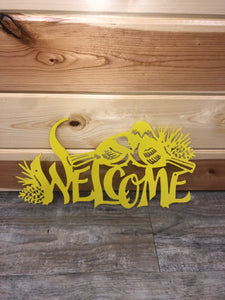 Yellow Powder Coat Chickadee Metal Art
