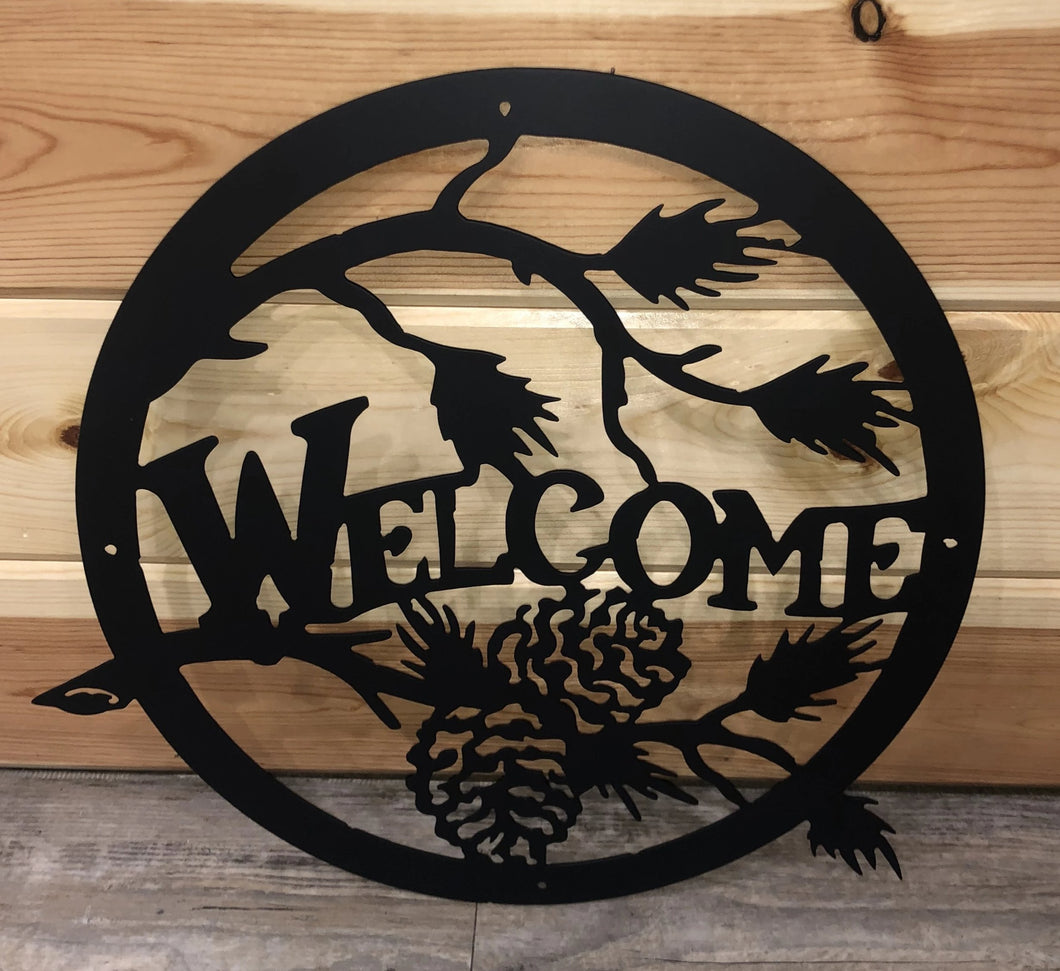Welcome Pine Cone Circle Metal Art Sign - Cut'N Creations