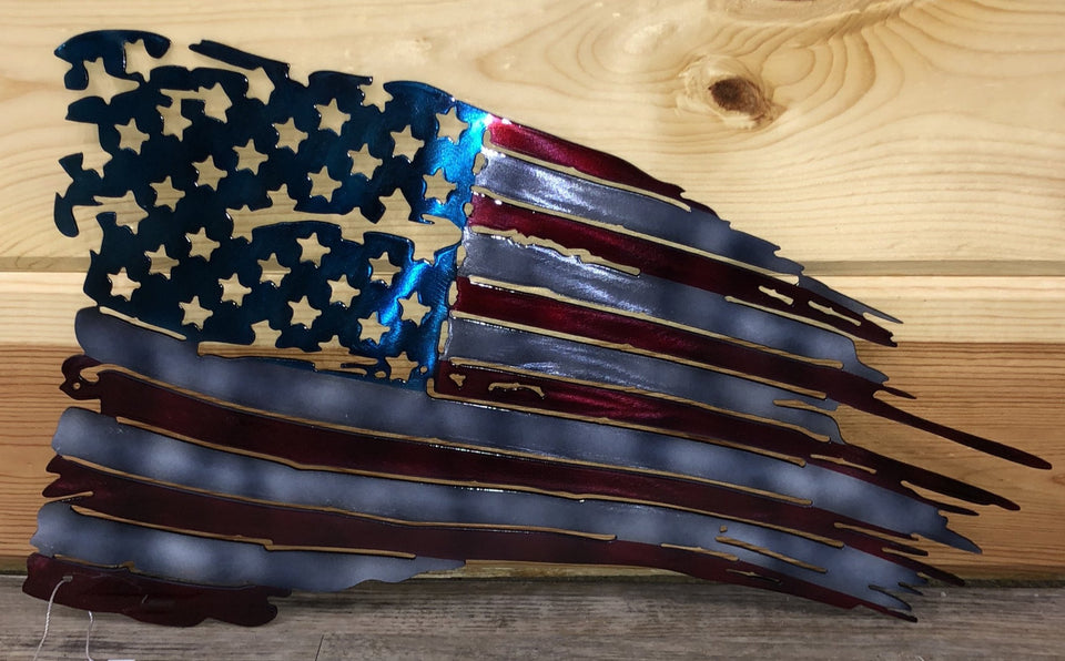 hand painted tattered American flag- cut'n creations