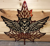 Leaf Metal Art with Owl Inside the Scene - Cut'N Creations