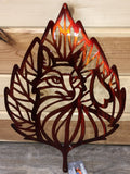 Leaf Fox Handpainted Metal Art - Cut'N Creations