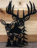 Deer Buck and Doe Metal Art Scene