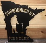 surrounded by ice holes wall hanging metal art - cut'n creations