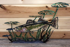 Walleye Lily Pad Hand Painted Metal Art - Cut'N Creations