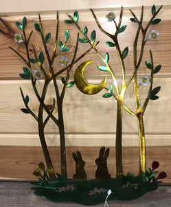 Bunny Spring Evening Metal Art Scene