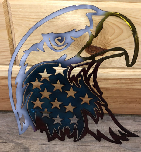 Painted American Eagle Head with American Flag Metal Art
