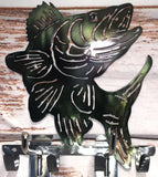 walleye key holder metal art hand painted - cut'n creations