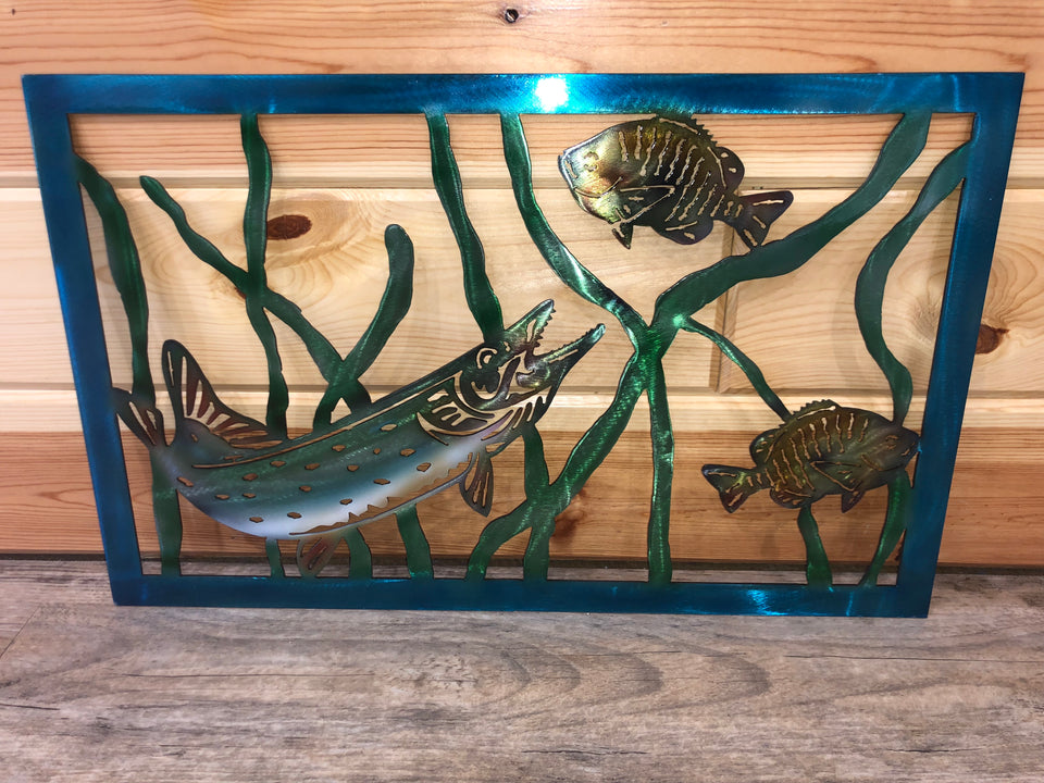Northern Pike Fish Scene - Metal Wall Hanging