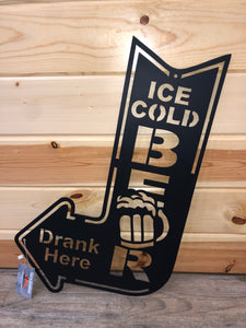 ice cold beer drank here metal wall decor - cut'n creations
