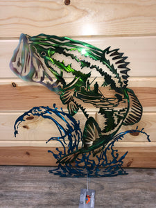 bass fishing scene wall decor - cut'n creations