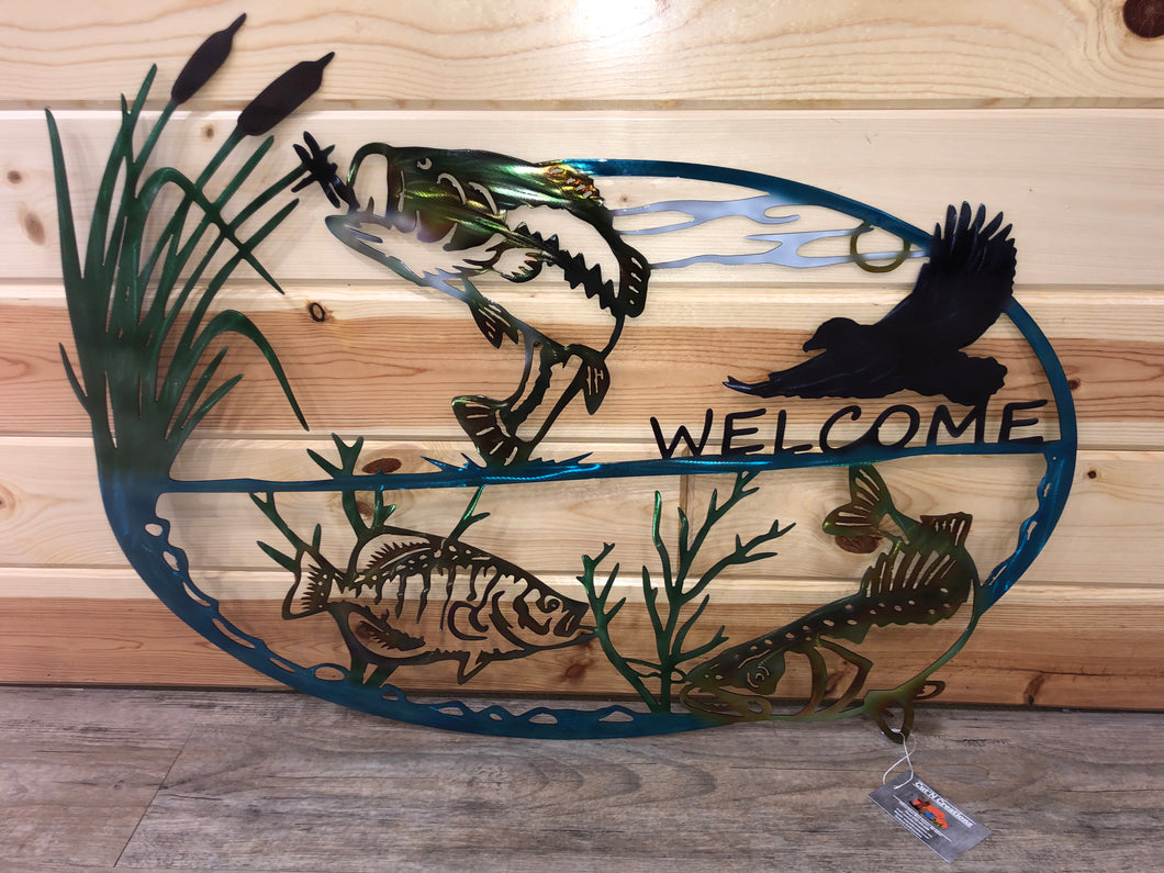 fish and eagle welcome scene metal wall decor - cut'n creations
