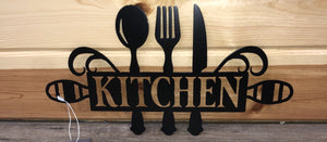Kitchen with Utensils- Metal Decor Sign