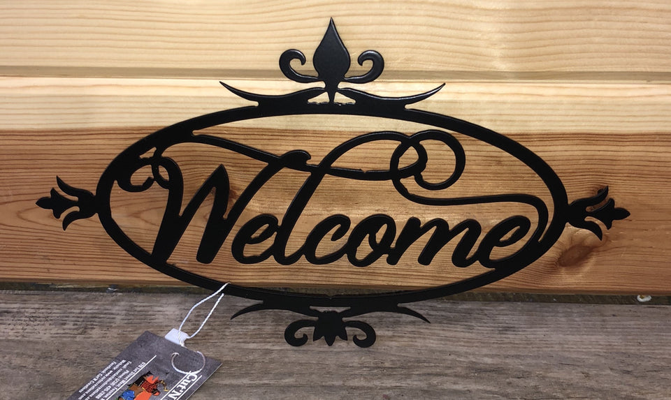 welcome oval metal decor sign - Cut'N Creations Metalworks