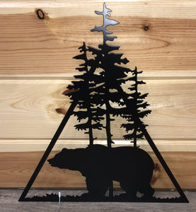 bear triangle metal sign - cut'n creations