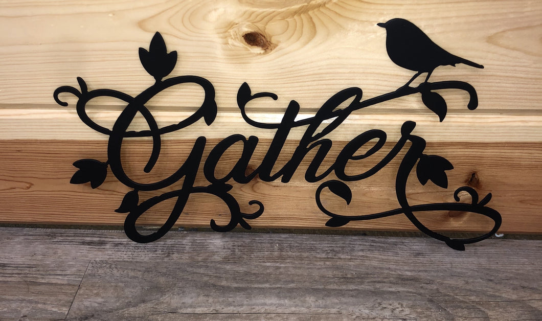 Gather with scroll and bird metal art- cut'n creations metalworks