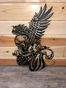 eagle with flag metal art - cut'n creations metalworks