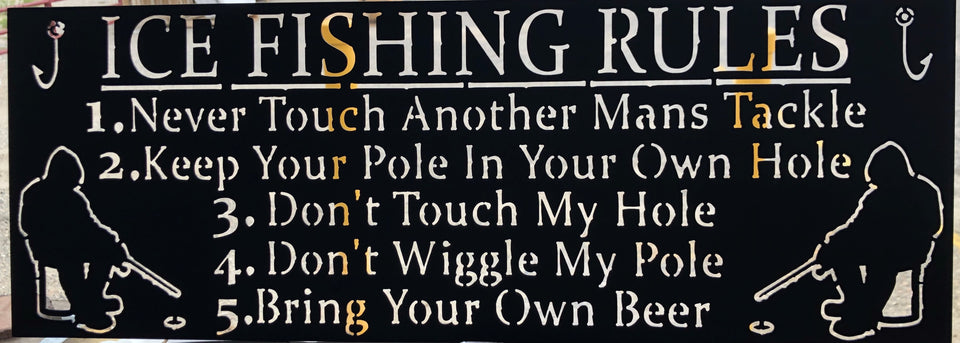 Ice Fishing Rules Metal Sign
